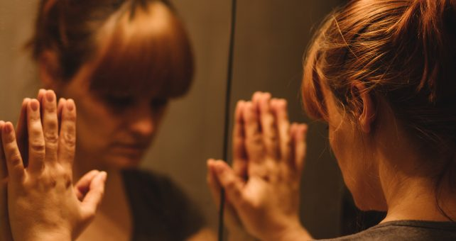 Overthinking is making you unhappy girl in mirror